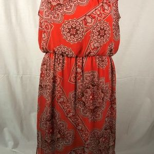 Cato Woman 22 24 Maxi Dress Orange Print Sleeveles